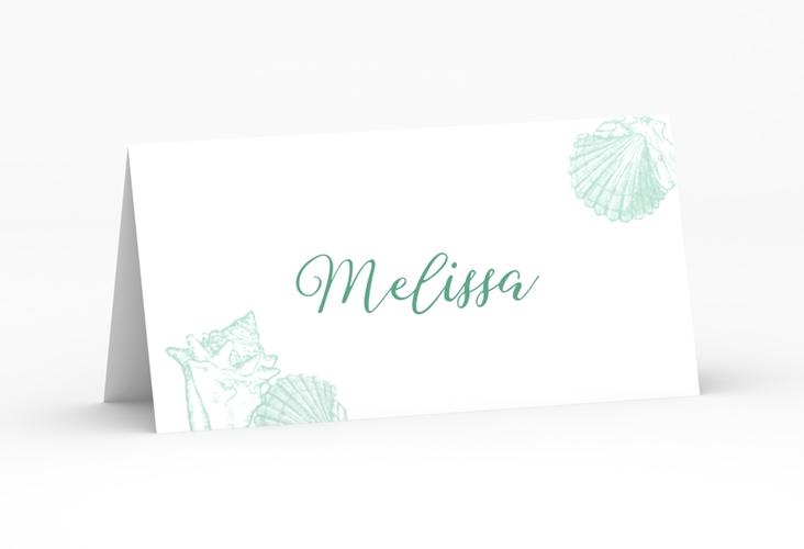 """Tischkarte Hochzeit """"Muschelreich"""" Tischkarten mint"""
