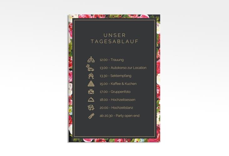 """Tagesablauf Leinwand Hochzeit """"Blumenpracht"""" 50 x 70 cm Leinwand schwarz"""