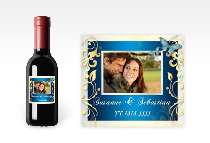 "Piccoloetikett Hochzeit ""Toulouse"" Etikett Piccolo blau"