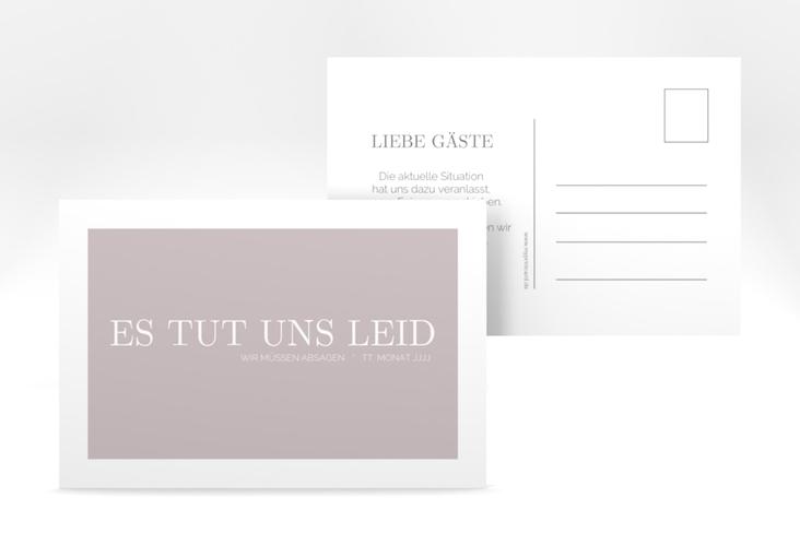 "Absagekarte ""Simpel"" A6 Postkarte grau"