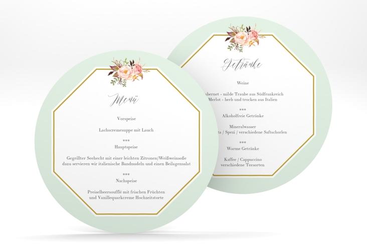 """Menükarte Hochzeit """"Prachtvoll"""" rund mint"""