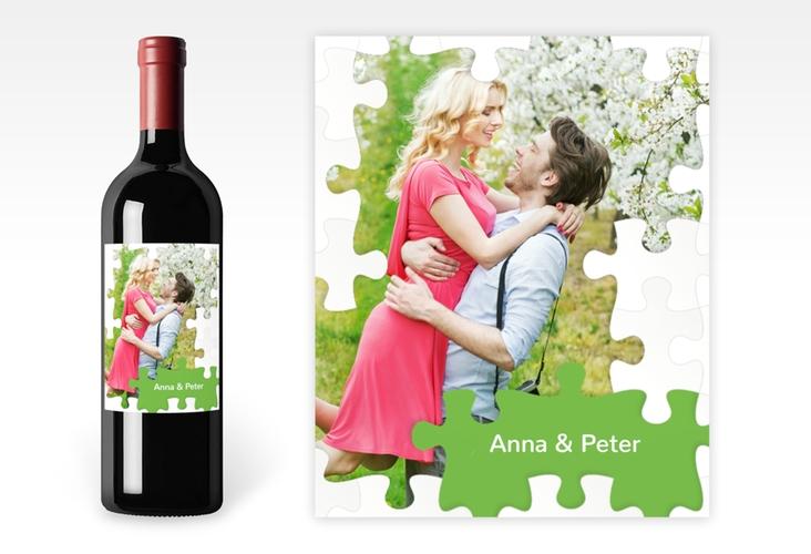 """Weinetikett zur Hochzeit """"Puzzle"""" Etikett Weinflasche 4er Set gruen"""