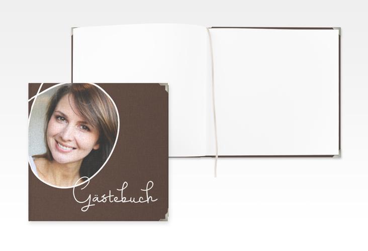 "Gästebuch Selection Geburtstag ""Swing"" Leinen-Hardcover braun"