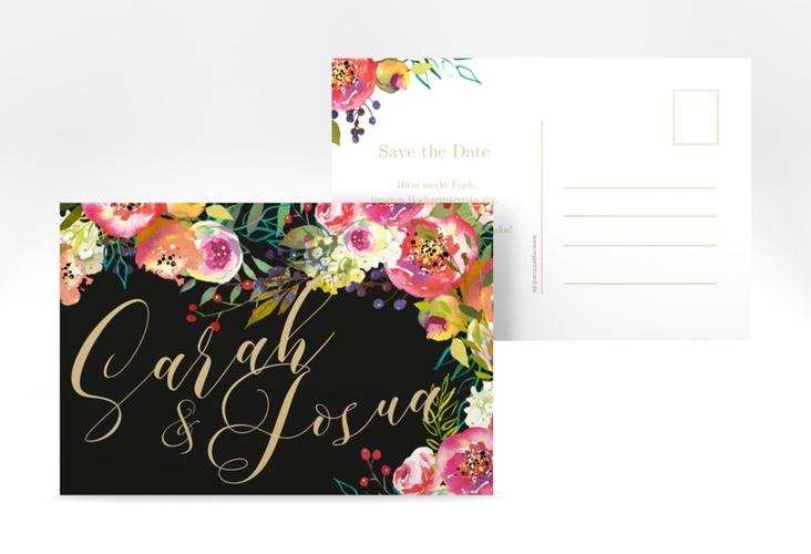 "Save the Date-Postkarte ""Flowerbomb"" A6 Postkarte schwarz"