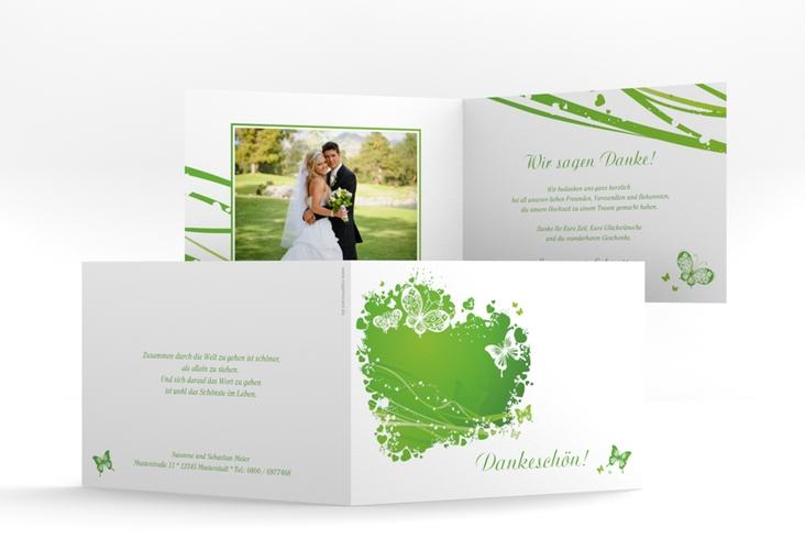 "Danksagungskarte Hochzeit ""Mailand"" A6 Klappkarte Quer gruen"