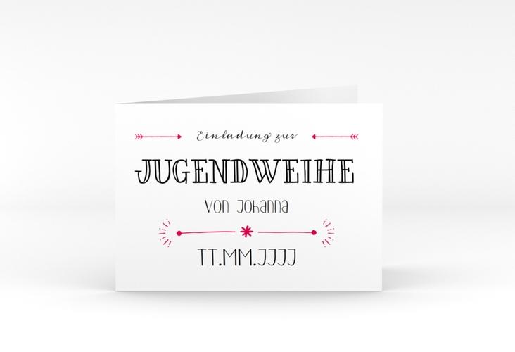 """Einladung Jugendweihe """"Typeface"""" A6 Klappkarte Quer pink"""