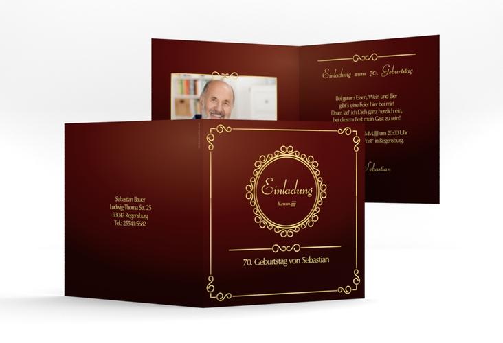 """Einladungskarte """"Bert/Berta"""" Quadratische Klappkarte rot"""