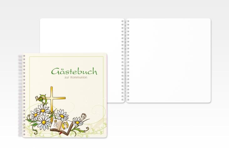 """Gästebuch Kommunion """"Margeriten"""" Ringbindung gruen"""