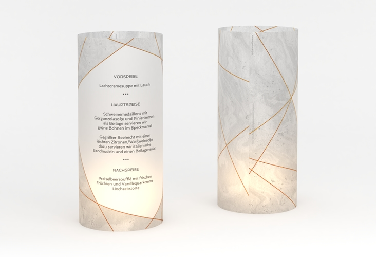 """Windlicht Menü Hochzeit """"Asymmetry"""" Windlicht grau"""