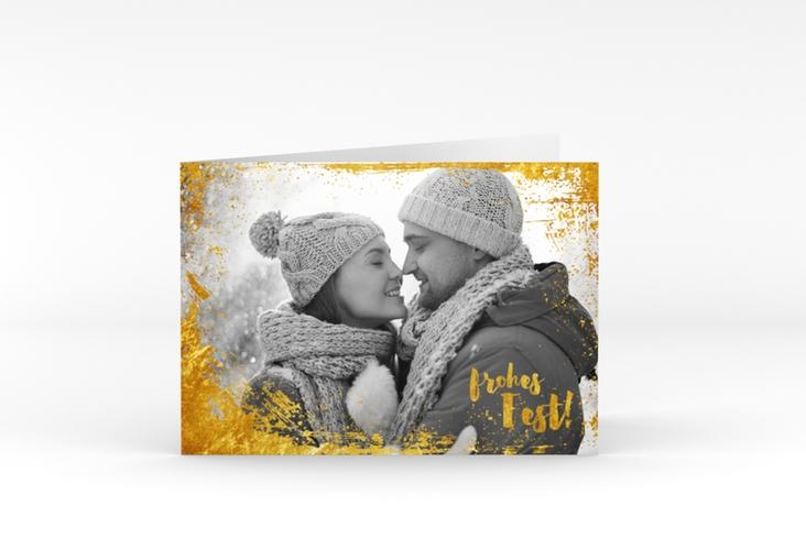 """Weihnachtskarte """"Glitzerfest"""" A6 Klappkarte Quer gold"""