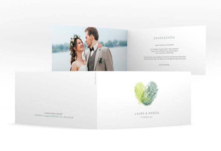 "Dankeskarte Hochzeit ""Fingerprint"" DIN lang Klappkarte gruen"