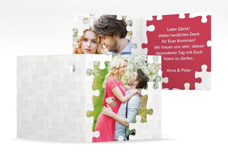 """Geschenkanhänger Hochzeit """"Puzzle"""" Geschenkanhänger 10er Set rot"""