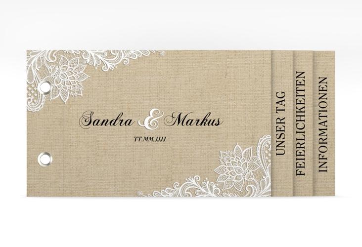 """Hochzeitseinladung """"Lace"""" Booklet beige"""