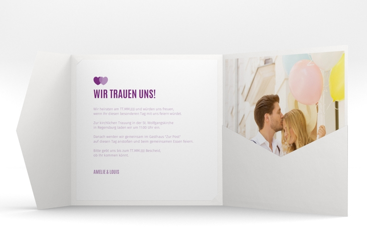 "Hochzeitseinladung ""Couple"" Pocketfold lila"