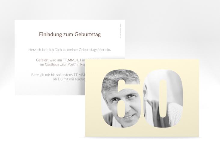 """Einladungskarte """"Numbers"""" A6 quer beige"""