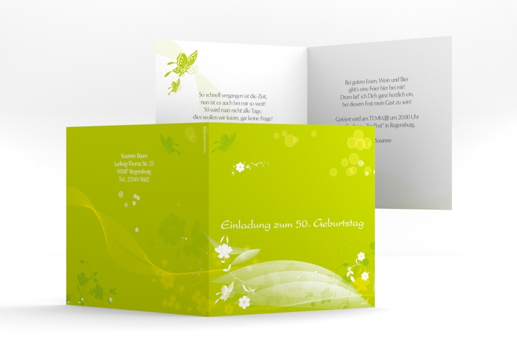 "Einladungskarte ""Claudia"" Quadratische Klappkarte"