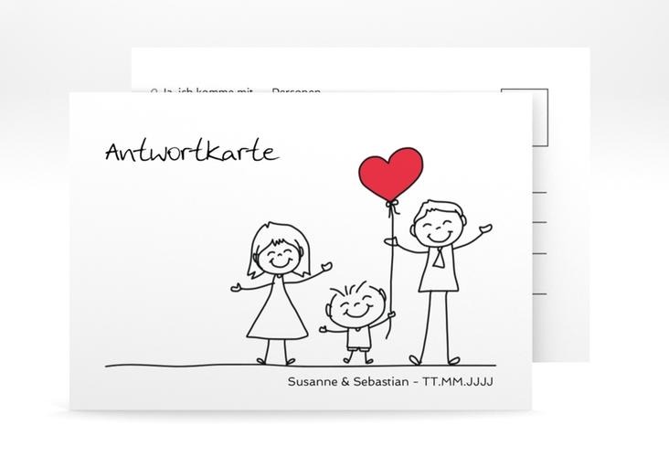 """Antwortkarte Hochzeit """"Family"""" A6 Postkarte"""