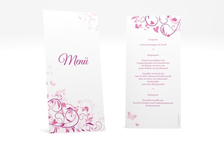 "Menükarte Hochzeit ""Lilly"" DIN lang hoch pink"