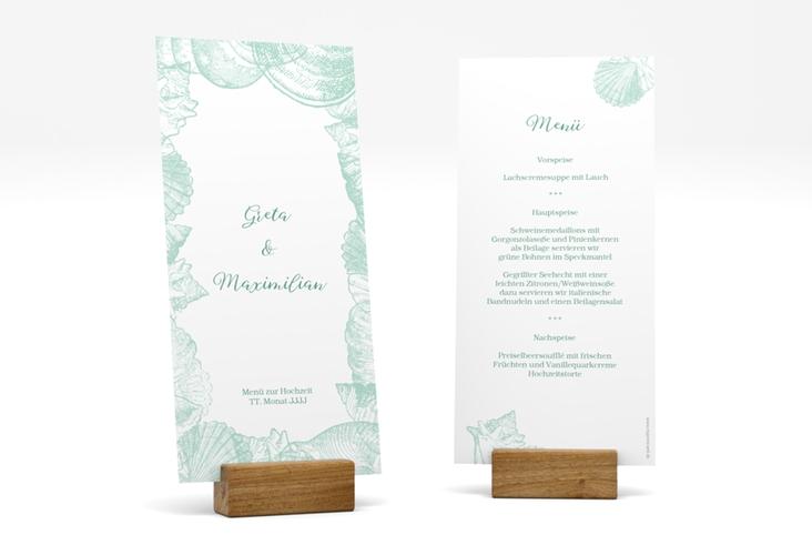 "Menükarte Hochzeit ""Muschelreich"" DIN lang hoch mint"