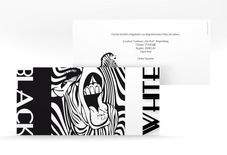 """Partyeinladung """"Zebra"""" DIN lang"""