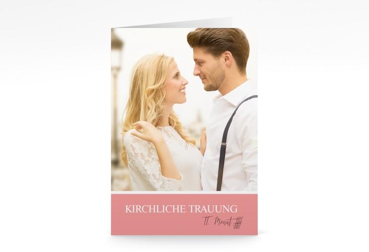 """Kirchenheft Hochzeit """"Balance"""" DIN A5 geklappt rosa"""