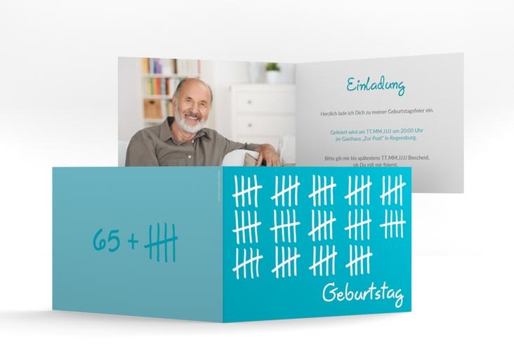 "Einladungskarte ""Strichliste"" A6 Klappkarte Quer blau"