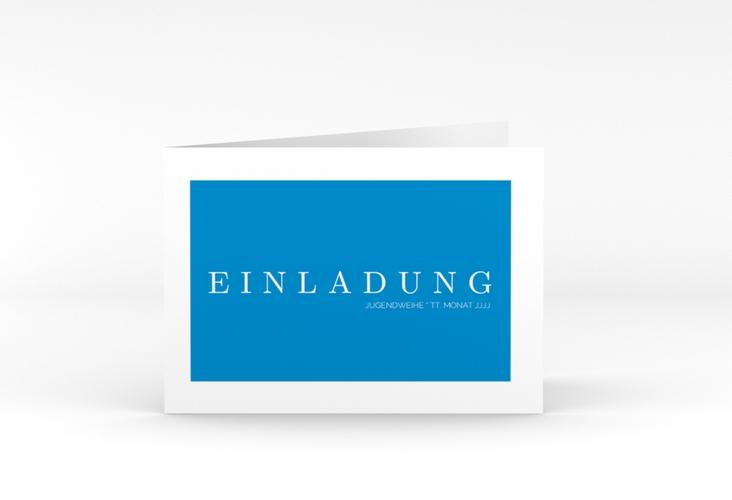 """Einladung Jugendweihe """"Simple"""" A6 Klappkarte Quer blau"""