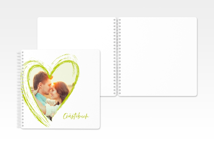 "Gästebuch Hochzeit ""Liebe"" Ringbindung gruen"