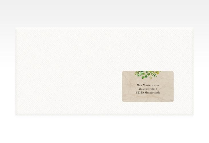 """Empfängeretikett Hochzeit """"Botany"""" 63,5 x 38,1 mm beige"""