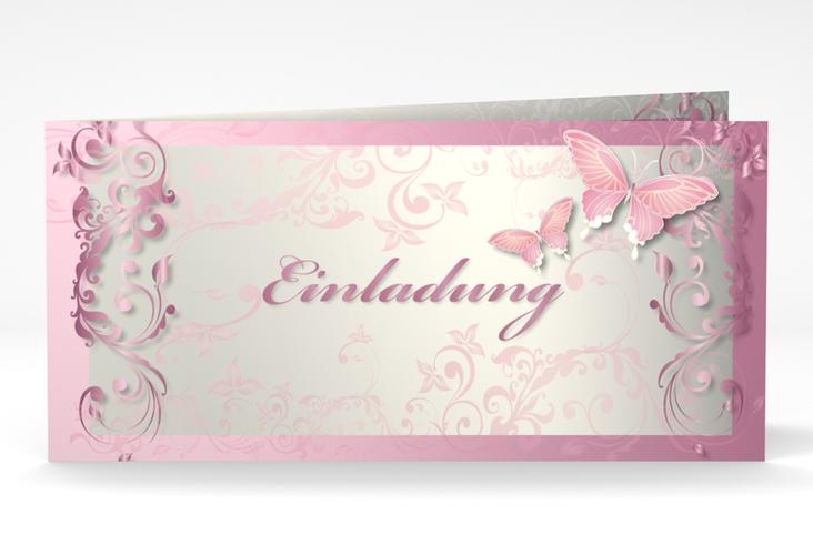 "Hochzeitseinladung ""Toulouse"" DIN lang Klappkarte rosa"
