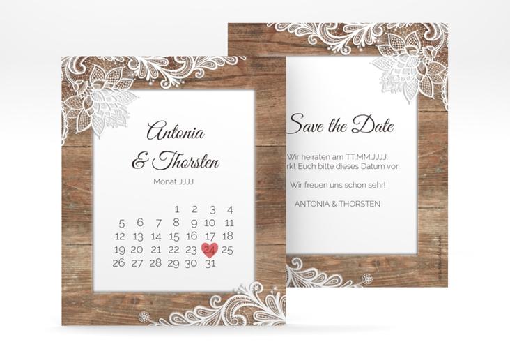"Save the Date-Kalenderblatt ""Spitze"" Kalenderblatt-Karte braun"