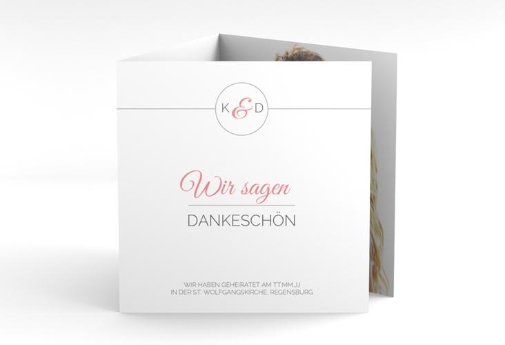 "Dankeskarte Hochzeit ""Unique"" Quadr. Karte doppelt rosa"