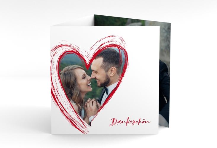 "Dankeskarte Hochzeit ""Liebe"" Quadr. Karte doppelt rot"