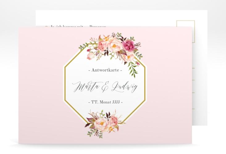"""Antwortkarte Hochzeit """"Prachtvoll"""" A6 Postkarte rosa"""