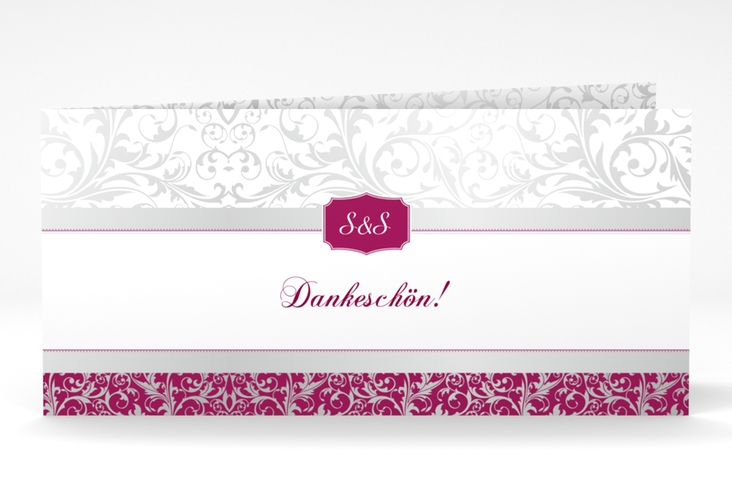 "Dankeskarte Hochzeit ""Latina"" DIN lang Klappkarte pink"