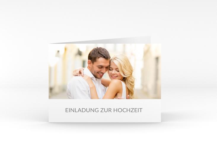 """Hochzeitseinladung """"Vista"""" A6 Klappkarte Quer weiss"""