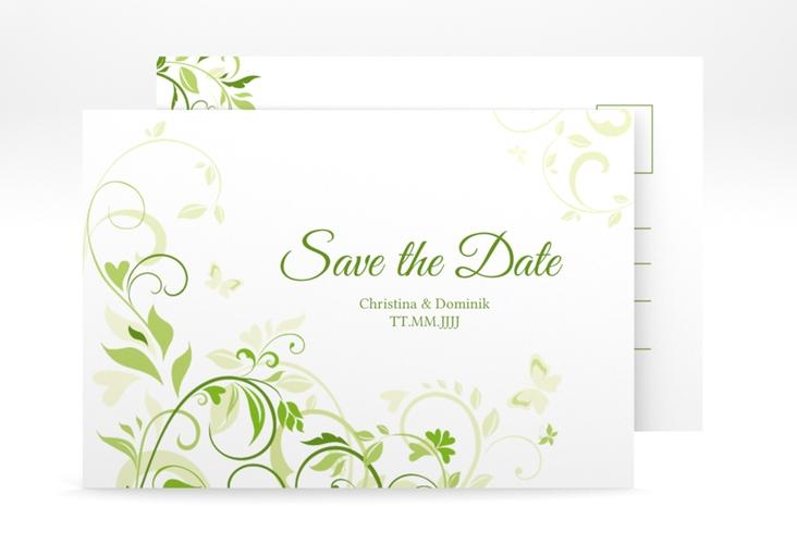 """Save the Date-Postkarte """"Lilly"""" A6 Postkarte gruen"""