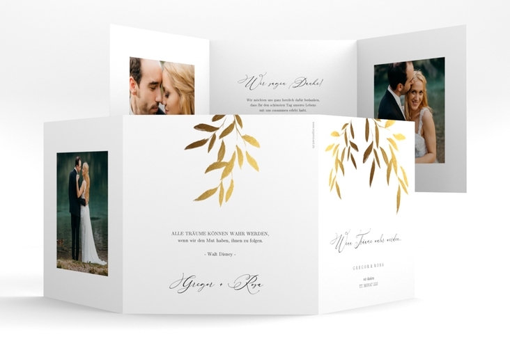 "Dankeskarte Hochzeit ""Demure"" Quadr. Karte doppelt weiss"