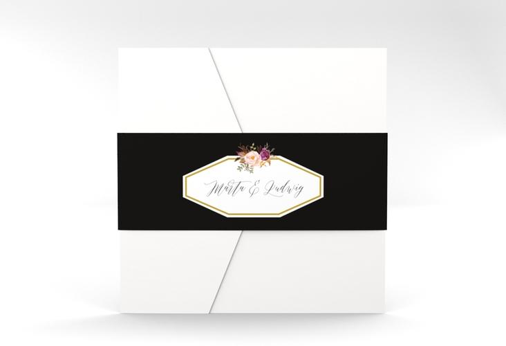 """Hochzeitseinladung """"Prachtvoll"""" Pocketfold schwarz"""