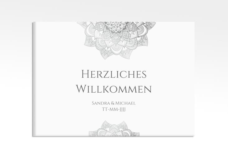 """Willkommensschild Hochzeit """"Delight"""" 70 x 50 cm Leinwand grau"""