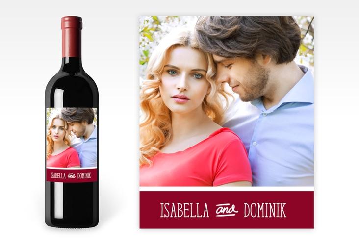 """Weinetikett zur Hochzeit """"Gallery"""" Etikett Weinflasche 4er Set rot"""