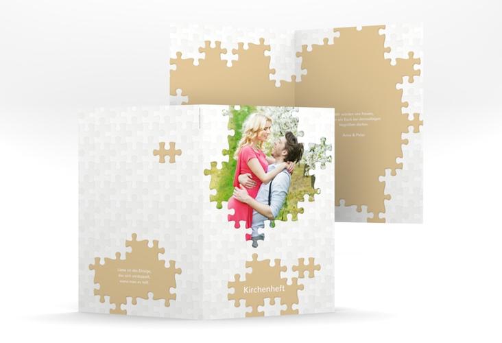 """Kirchenheft Hochzeit """"Puzzle"""" DIN A5 geklappt beige"""