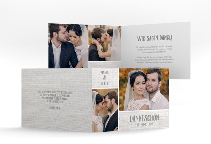 "Danksagungskarte Hochzeit ""Landliebe"" A6 Klappkarte Quer weiss"