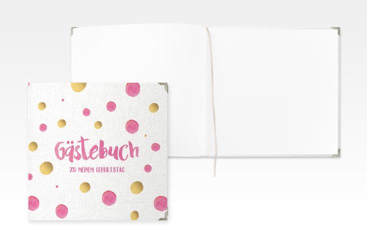 "Gästebuch Selection Geburtstag ""Dots"" Leinen-Hardcover pink"
