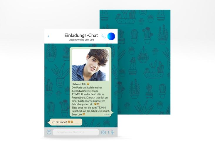 """Einladung Jugendweihe """"Online"""" A6 hoch blau"""