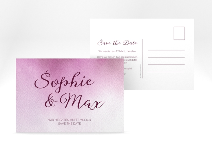 "Save the Date-Postkarte ""Ombre"" A6 Postkarte rosa"