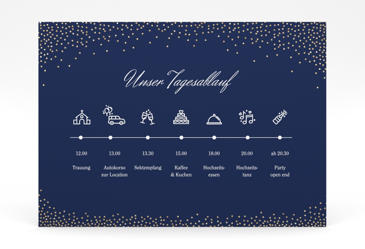 """Tagesablauf Poster Hochzeit """"Glitter"""" 70 x 50 cm Poster blau"""