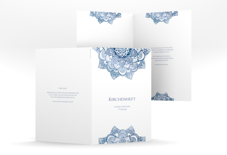 """Kirchenheft Hochzeit """"Delight"""" DIN A5 geklappt blau"""