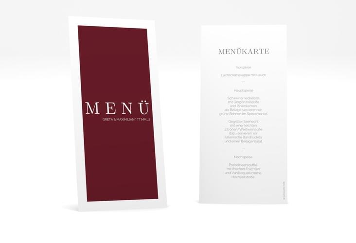 """Menükarte Hochzeit """"Simply"""" DIN lang hoch rot"""