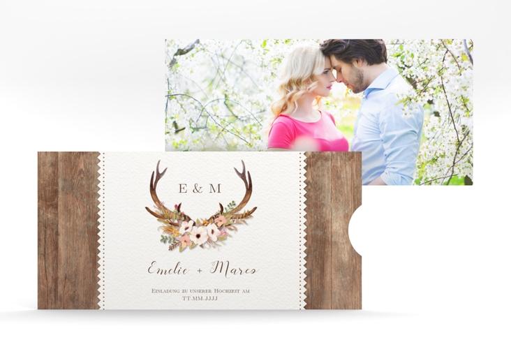 """Hochzeitseinladung """"Heimatjuwel"""" Einsteckkarte braun"""